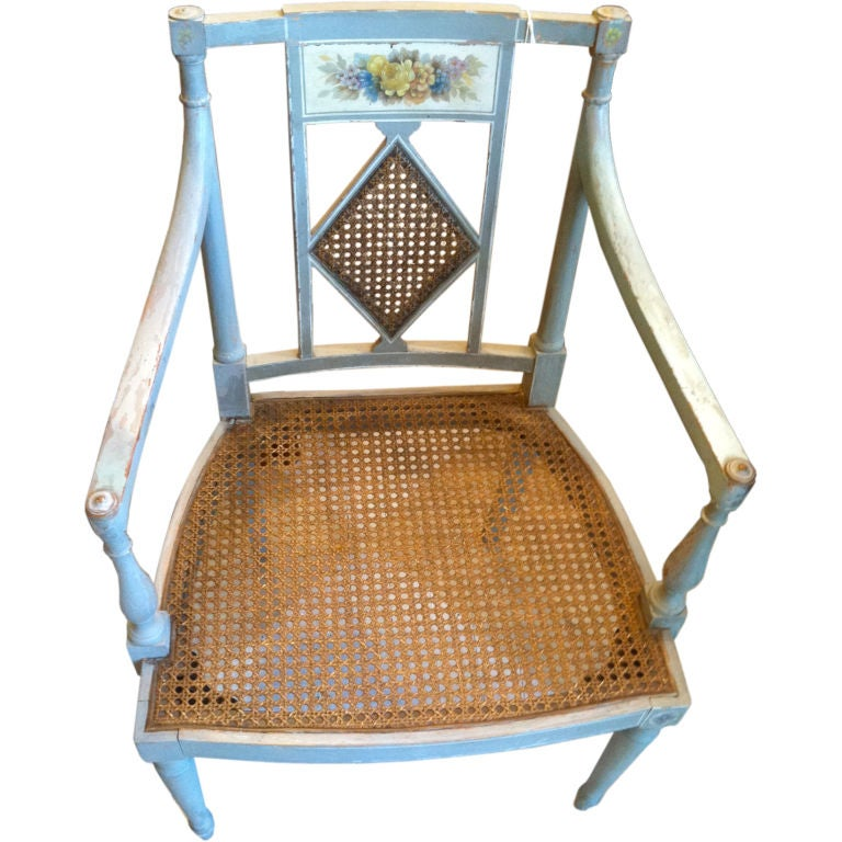 19th Century Swedish Regency Painted Armchair For Sale