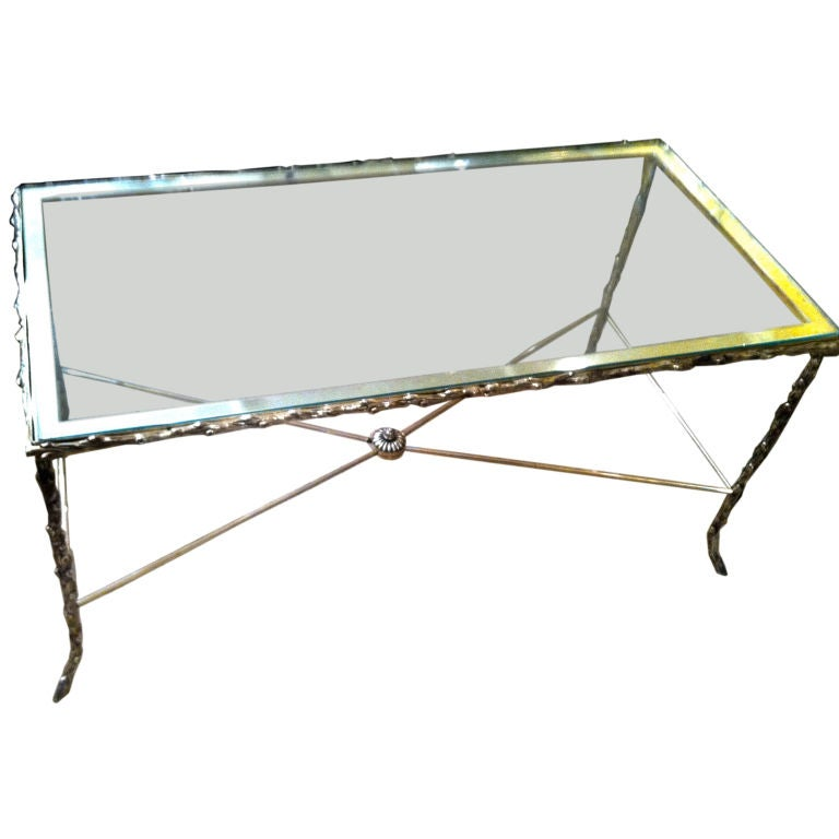 English Sheffield Silver And Glass Cocktail Table At 1stdibs