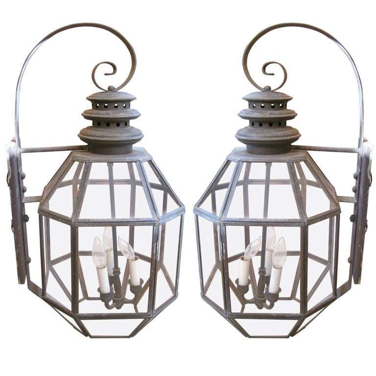 Pair of American Tole Hanging Lanterns