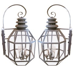 Pair of American Tole Hanging Lanterns
