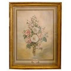 Pair of Dutch 18th Century Floral Watercolors of Roses and Carnations