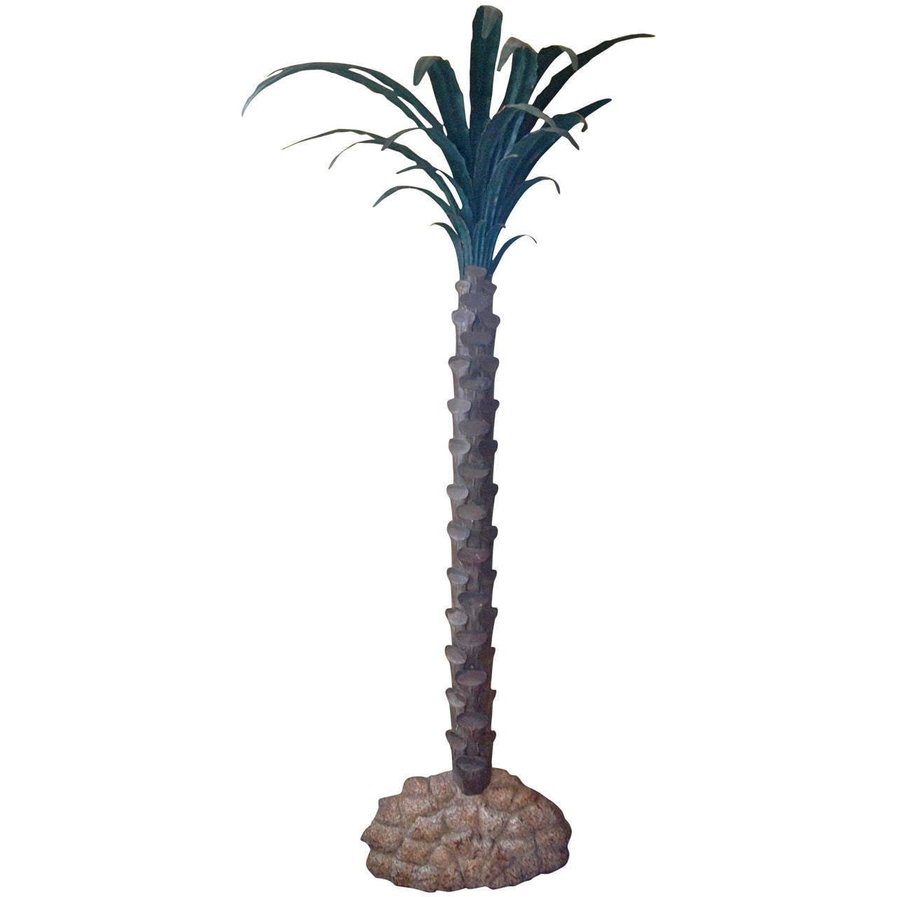 French Mid-Century Painted Tole Palm Tree