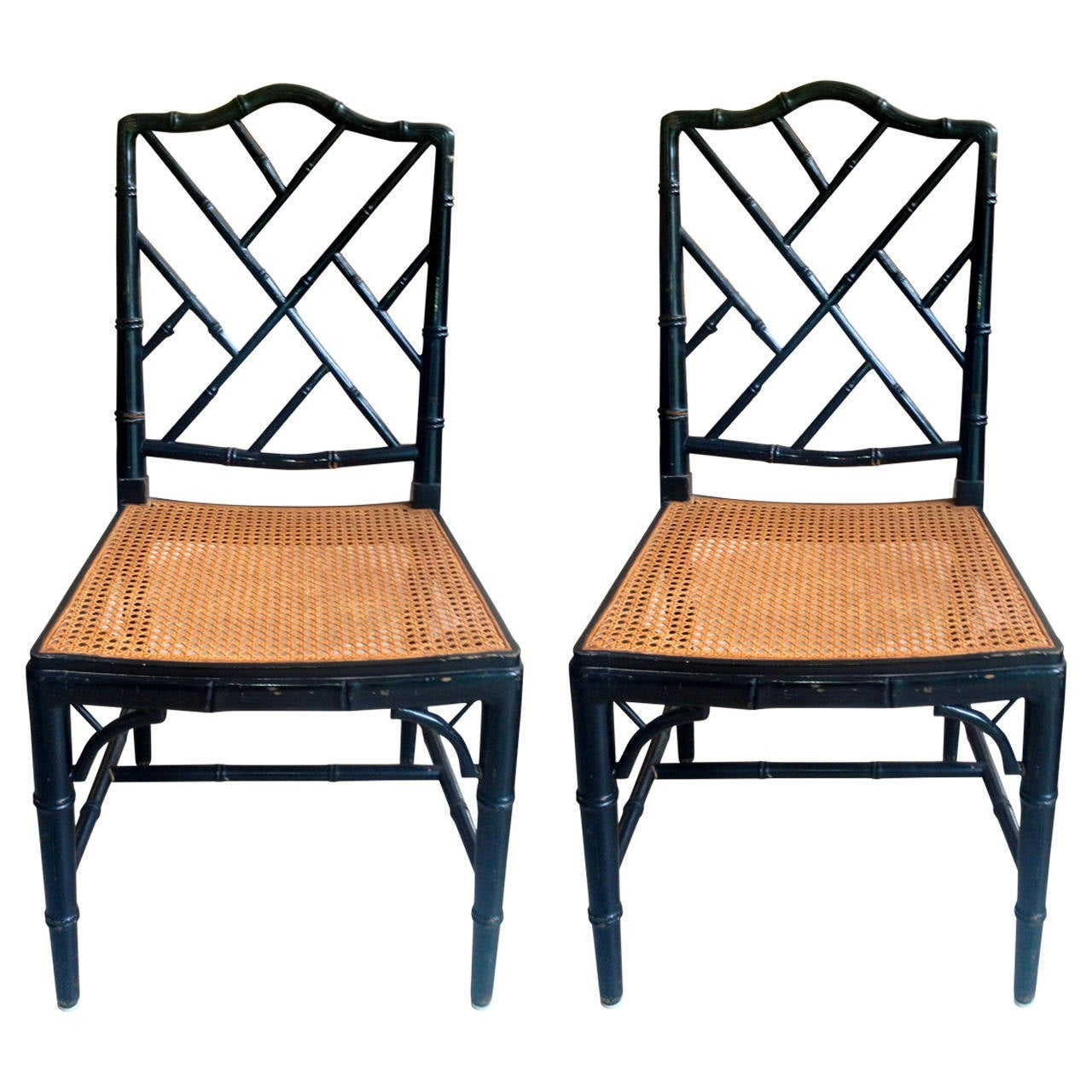 Pair of Black Lacquered Bamboo Side Chairs