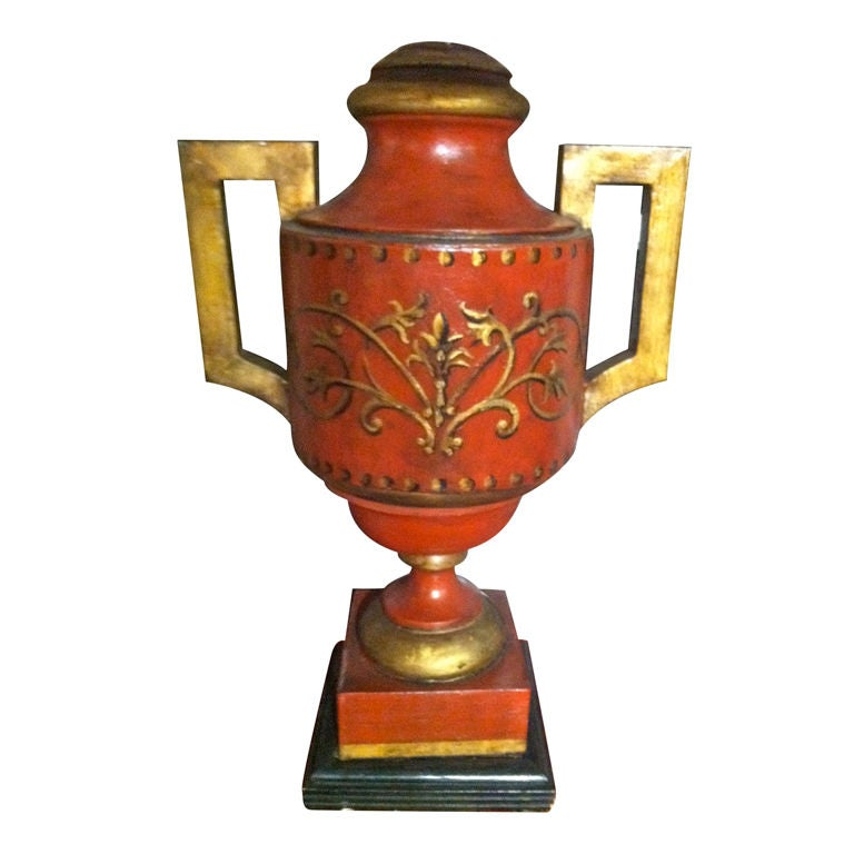 19th Century English Red Painted Tole Urn as a Lamp