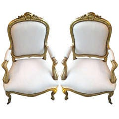 Pair of 19th Century French Watergilt Gold Leaf Armchairs