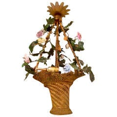 Late 19th Century French Basket of Flower Chandelier