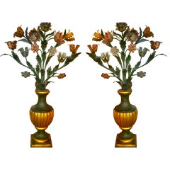 Pair of French 19th Century Painted Tole Flowers in Urns