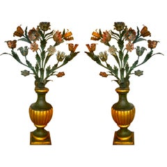 Pair of Magnificant Large French 19th Century Original Painted Tole Flowers