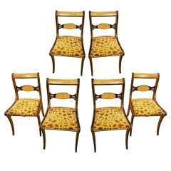 Set of 6 American Faux Painted Regency Style Chairs