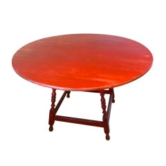 American Red Round Painted Dining Table
