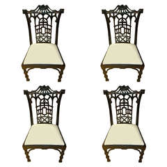 Set of Four American Black Lacquered Chinese Chippendale Style Chairs