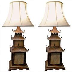 Pair of Italian Pagoda Tole Lamps