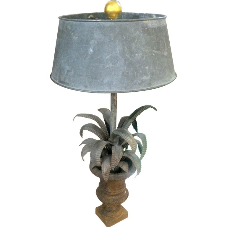 19th Century French Metal  Urn Lamp and Shade