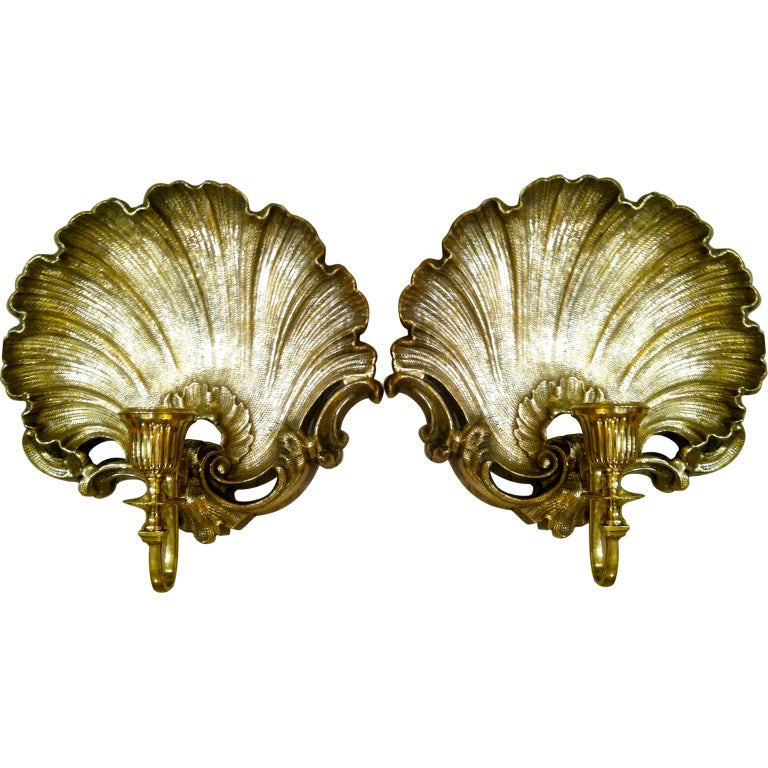 Brass Shell Wall Lights : Pair of Brass English Shell Sconces at 1stdibs
