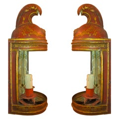 Pair of 19th Century French Red Tole Helmut Sconces