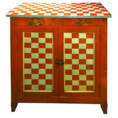 American Mid-Century Checker Painted Cabinet