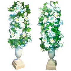Pair of French 19th Century Painted Tole Flowers