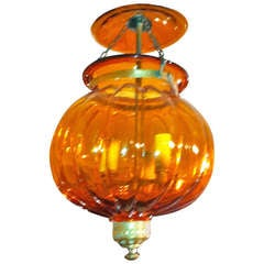 19th Century Anglo-Indian Amber Pumpkin Shape Bell Jar Lantern