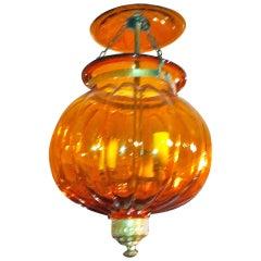 19th Century Anglo-Indian Amber Pumpkin Shape Bell Jar Lantern