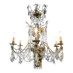 European 19th Century Wooden and Crystal Chandelier