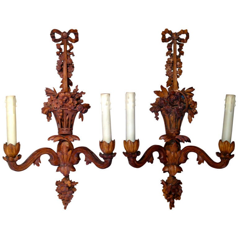 French Wooden Wall Lights : Pair of 19th Century French Carved Wooden Sconces at 1stdibs