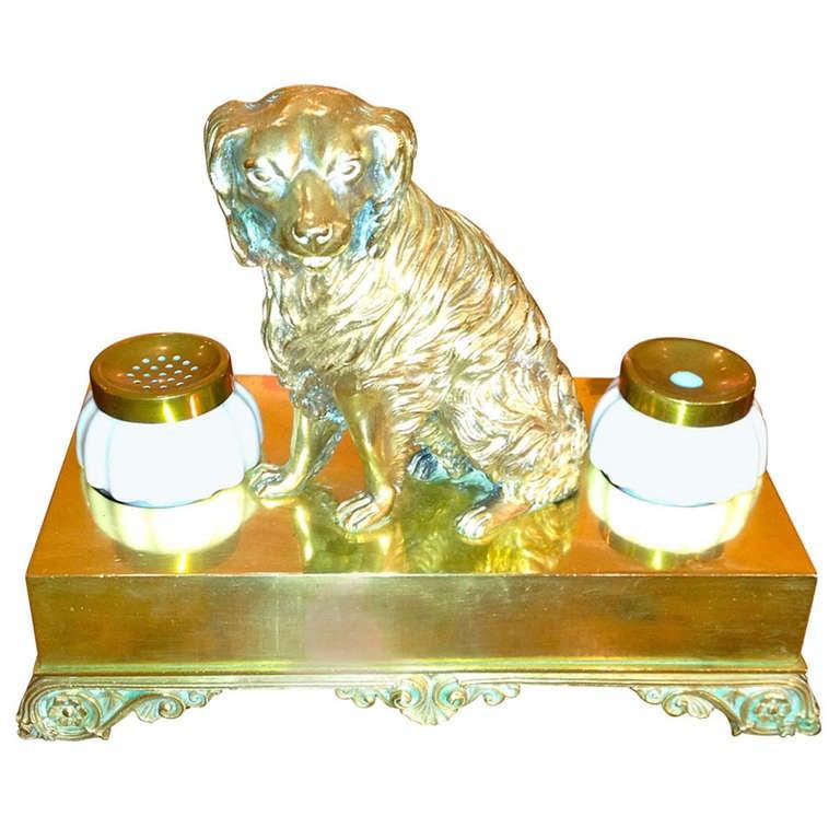 19th Century English Brass and Milk Glass Dog Inkwell
