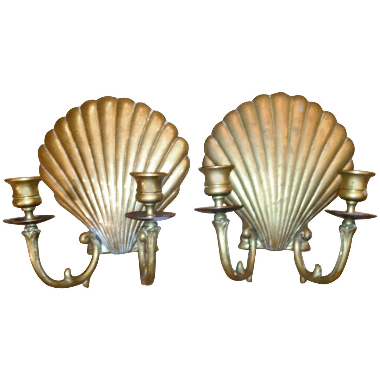 Brass Shell Wall Lights : American Brass Shell Sconces at 1stdibs