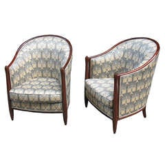 Pair of French Art Deco Bergeres in the Style of Follot