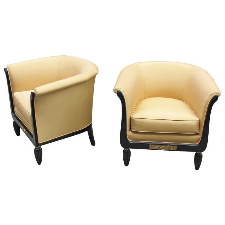 Pair Of Comfortable French Art Deco Bergeres Club Chairs