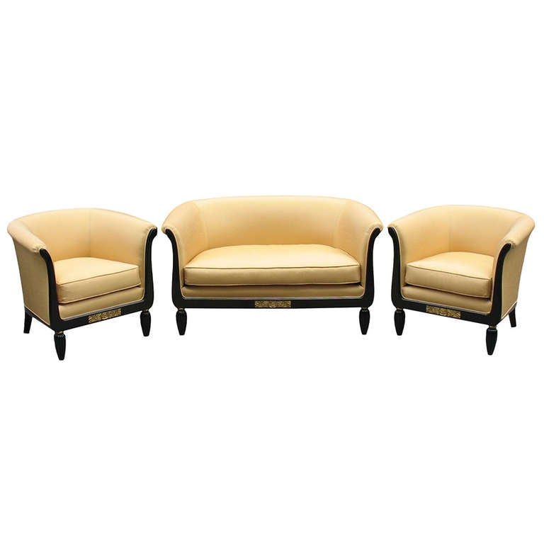 a french art deco set settee and 2 bergeres at 1stdibs
