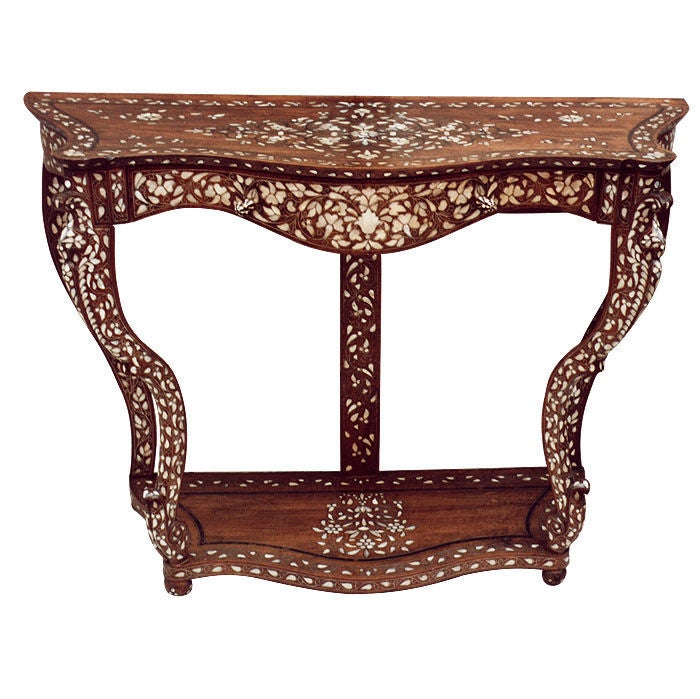 Silver And Mother-of-Pearl Marquetry Indian Console Table