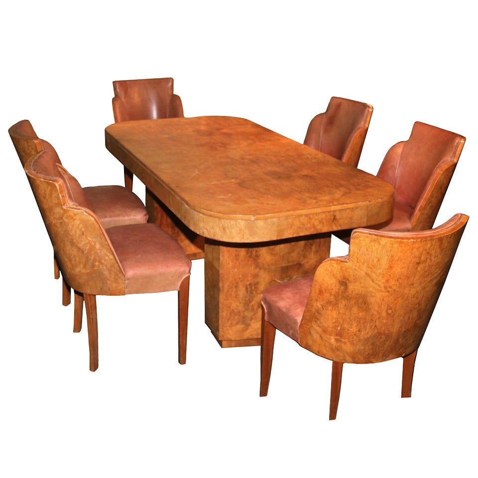 Documented French Art Deco Dining Room Suite By Marcel Guillemard At