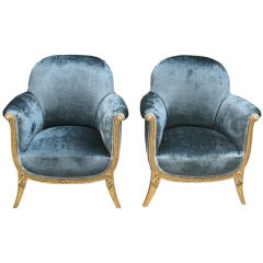 Pair of French Art Deco Bergeres by Andre Groult