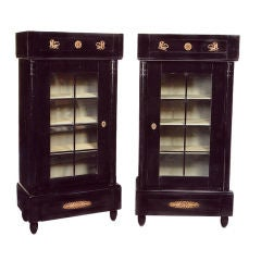 Rare Pair of Ebonized Biedermeier Vitrines