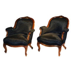 Pair of Very Comfortable 19th Century Rococo Bergeres