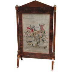Fine Detailed Biedermeier Screen with Original Tapestry