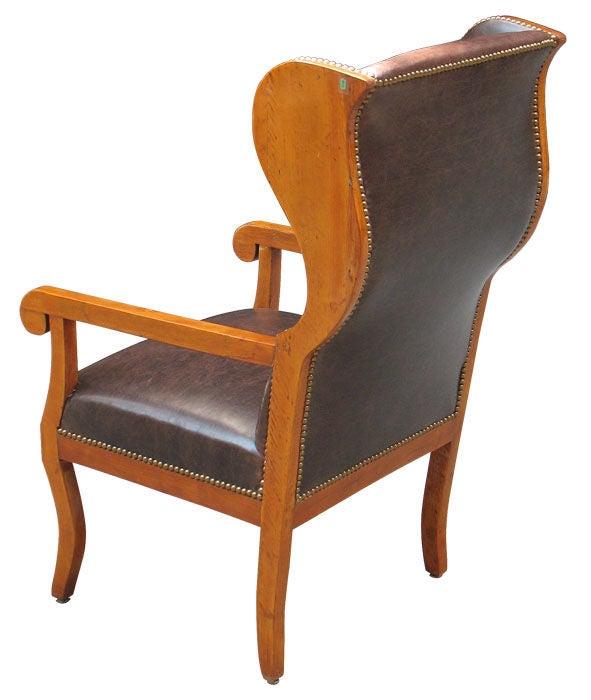 Very comfortable german biedermeier wingback chair at 1stdibs