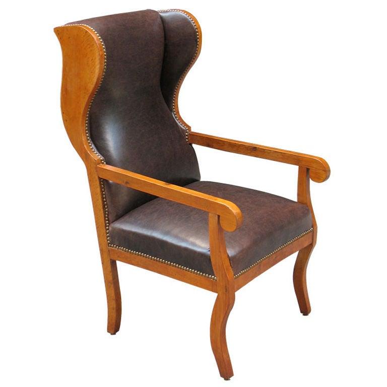comfortable german biedermeier wingback chair at 1stdibs