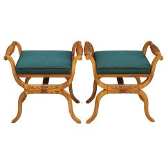 Velvet Upholstered Biedermeier Bench For Sale At 1stdibs