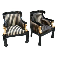 Pair of Magnificent Biedermeier Bergeres or Club Chairs