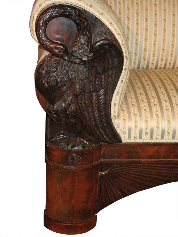 Magnificent swan carved north german biedermeier sofa for