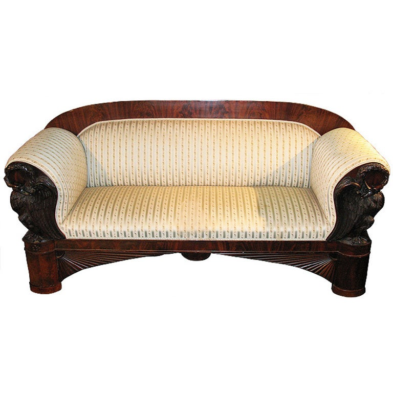 Magnificent swan carved north german biedermeier sofa for
