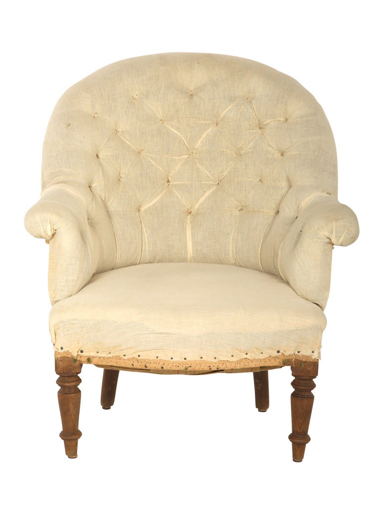 French Antique Unupholstered Barrel Chair For Sale