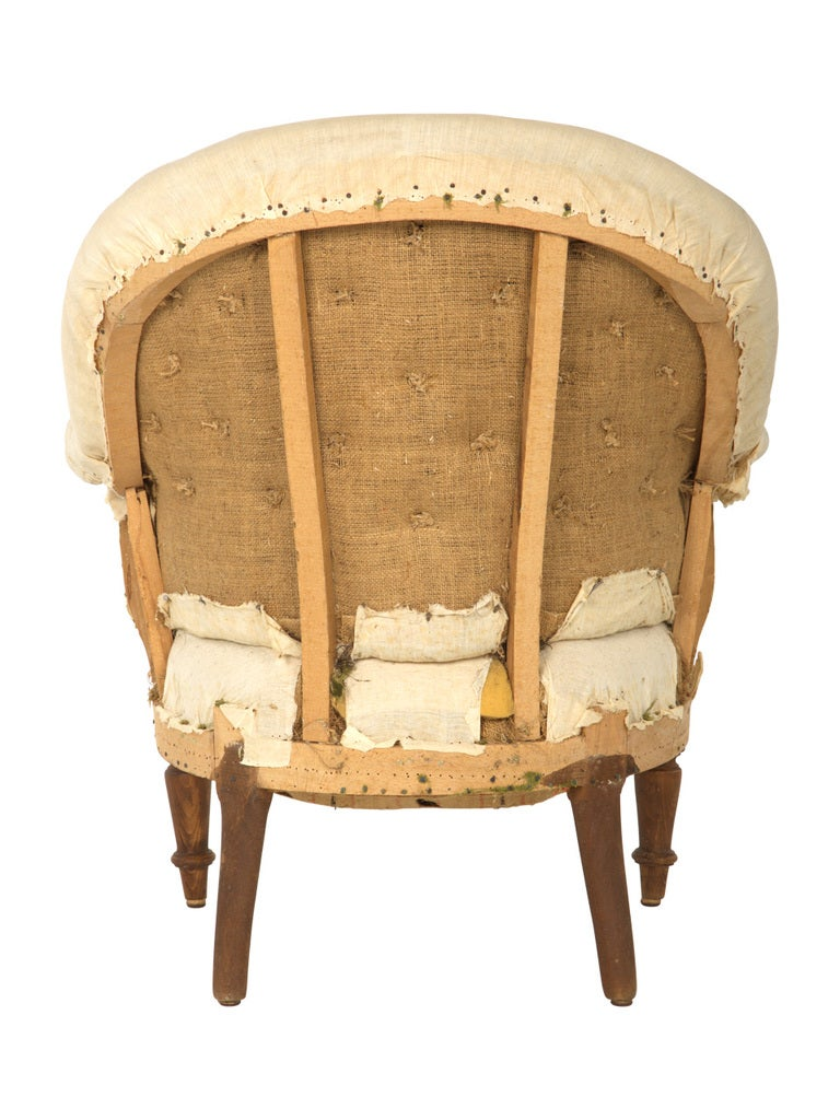 19th Century Antique Unupholstered Barrel Chair For Sale