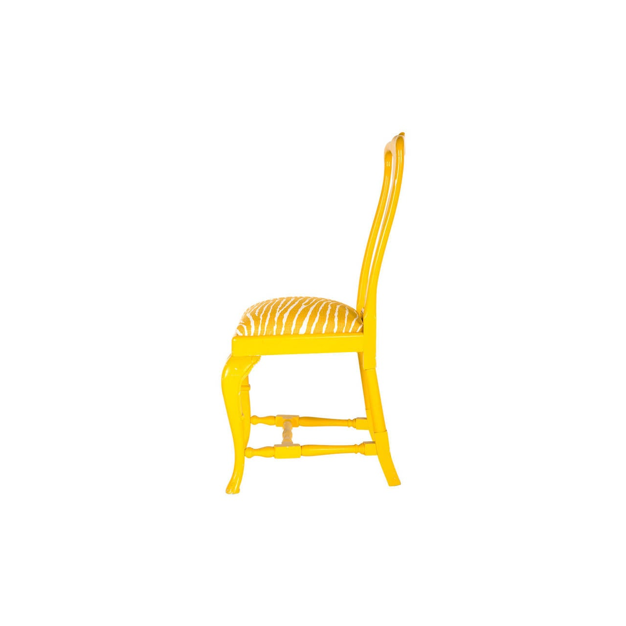 Vintage Yellow Queen Anne Dining Chair at 1stdibs