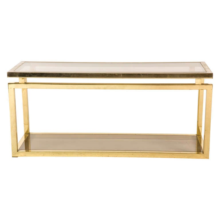 1stdibs Brass Smoked Glass French Console Table: Vintage Brass Console At 1stdibs