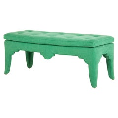 Vintage Upholstered Chinoiserie Bench