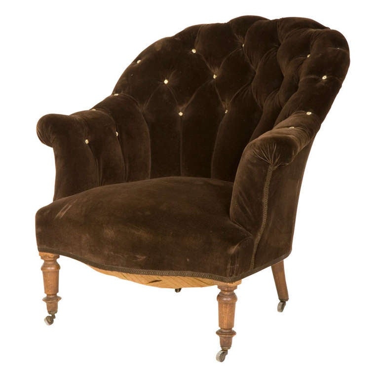 antique velvet tufted armchair at 1stdibs