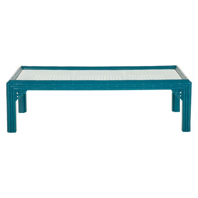 Vintage Turquoise Faux Bamboo Coffee Table Image 2