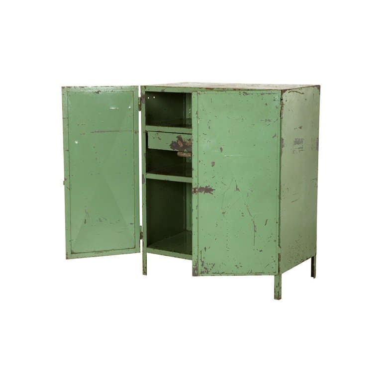 Paint Metal Kitchen Cabinets: Vintage Painted Metal Cabinet At 1stdibs